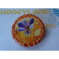 TO82 Lila virágos méh mintás fém lapka, tető
