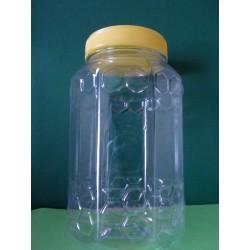 Szögletes mézes flakon, PET 1000g