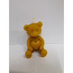 Szívecskés ülő Teddy maci méhviasz gyertya