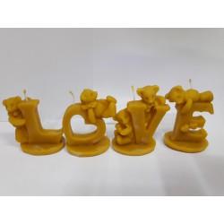 LOVE betűk macikkal méhviasz gyertya