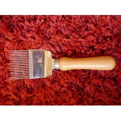 Forchetta per disopercolare, legno, denti acciaio
